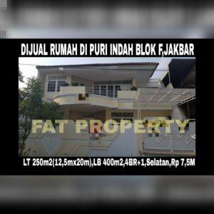 Dijual rumah di Puri Indah blok F,Jakarta Barat.