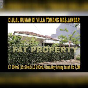 Dijual rumah tua hny hitung tanah di Villa Tomang Mas,Jakarta Barat.