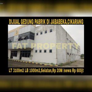 Dijual gedung pabrik di Jababeka 2 blok WW,Cikarang.