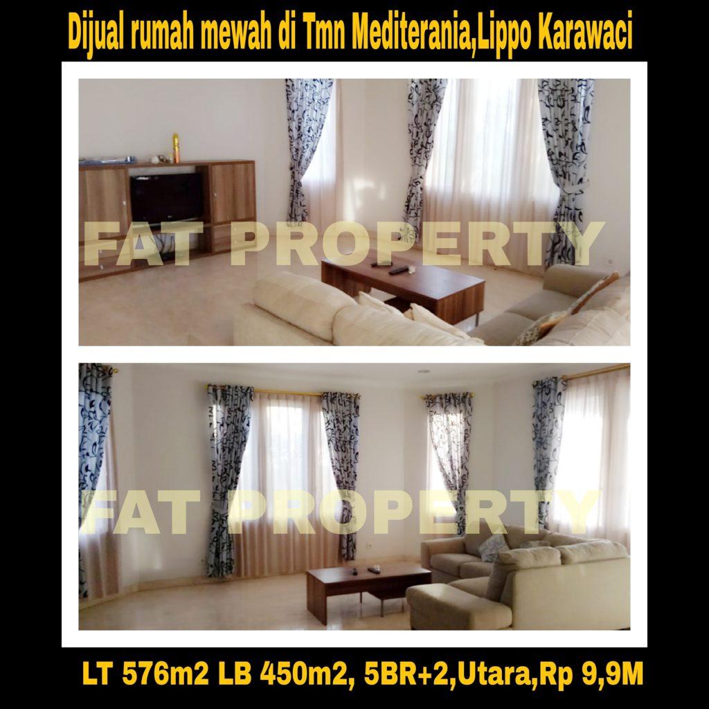 Dijual cepat rumah mewah bagus gaya tropis di Mediterania,Lippo Karawaci.