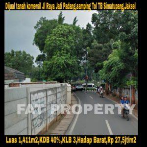 Dijual tanah komersil di Jl Jati Padang Raya,Pasar Minggu,Jakarta Selatan.
