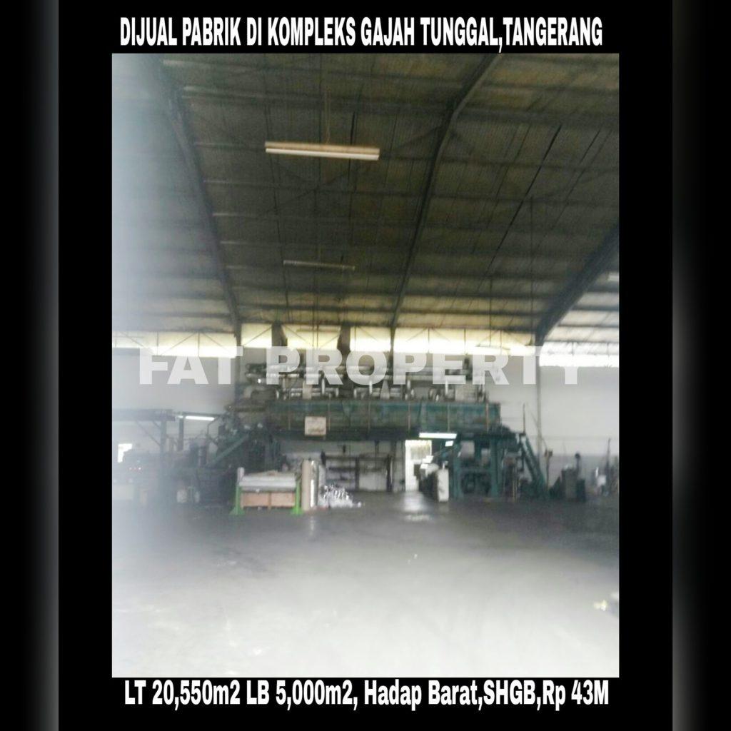 Dijual pabrik di kawasan Gajah Tunggal,Tangerang.