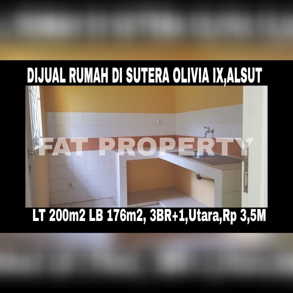 Dijual rumah bagus di Alam Sutera Cluster Sutera Olivia IX.