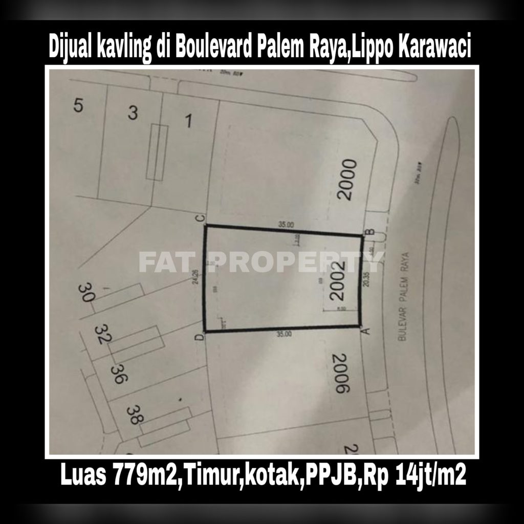 Dijual kavling perumahan di jalan utama Jl Boulevard Palem Raya,Lippo Karawaci.