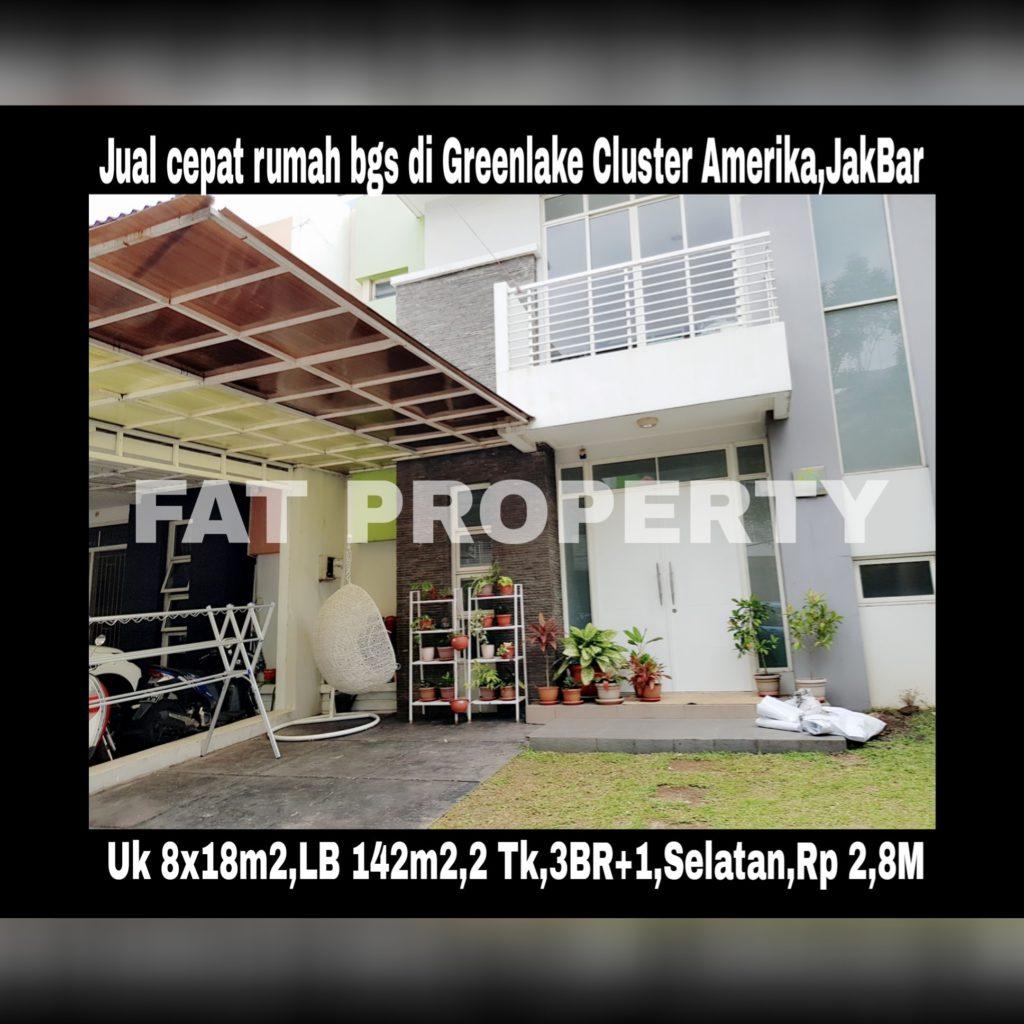 Dijual rumah bagus sedang tersewa 2thn di Cluster Amerika, Greenlake City,Karang Tengah,Cipondoh,Perbatasan Jakarta Barat dan Tangerang.