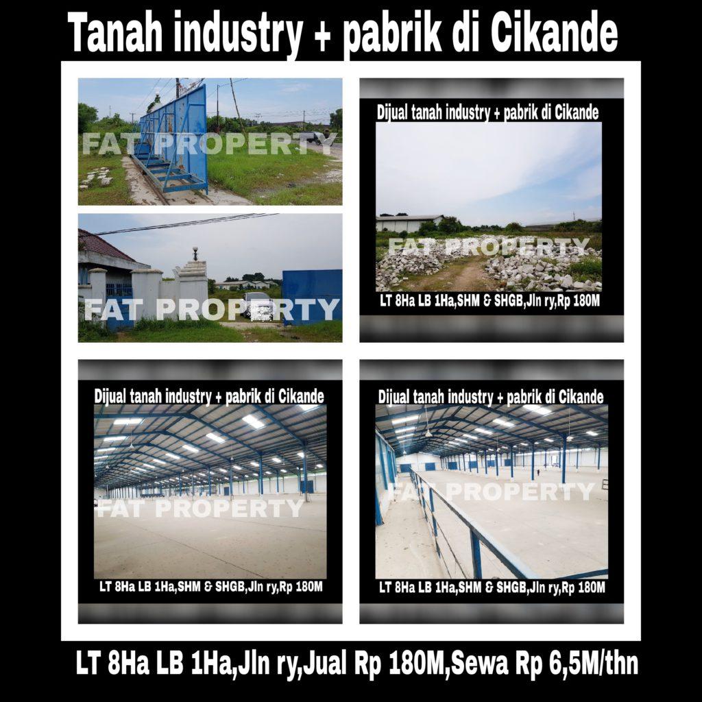 Dijual /sewa tanah industry dan bangunan pabrik struktur baja bagus di Cikande, Serang: