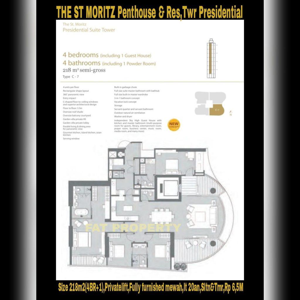 Dijual Apartment ST MORITZ Tower Presidential, tower paling ekslusif hanya 4 unit per lantai posisi paling private di ujung kompleks ST MORITZ.