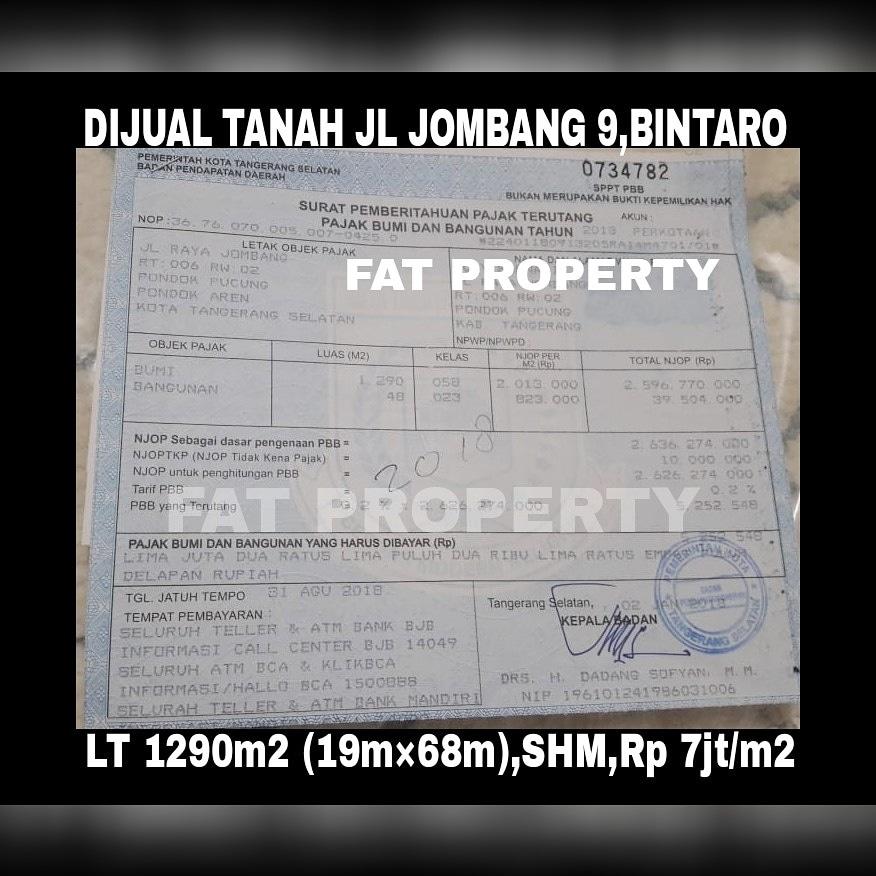 Dijual TANAH KOMERSIL ( ada bangunan tua) DI  JL RAYA JOMBANG No 9, BINTARO .