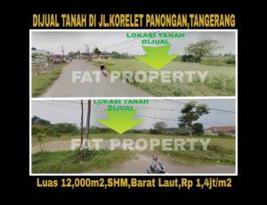 Dijual tanah 1,2 Ha di Jl Raya Korelet Panongan,Tangerang.