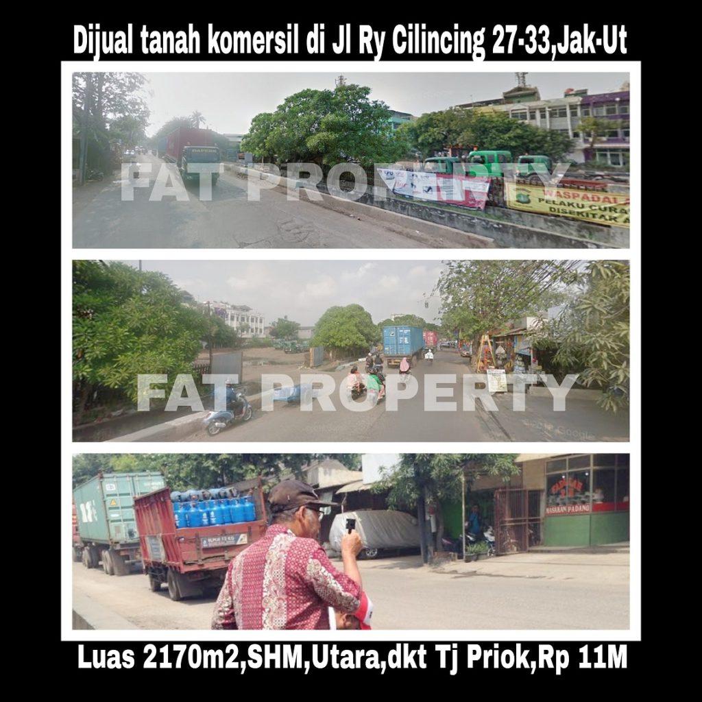 Dijual cepat tanah komersil dekat sekali dkt pintu Tanjung Priok  di pinggir jln raya di Jl Cilincing Raya no 27-33,Jakarta Timur