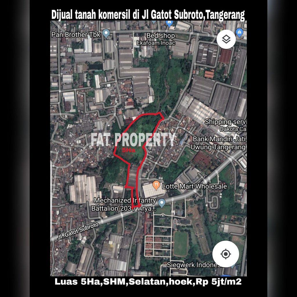 Dijual tanah komersil bisa untuk industry di pinggir jln.