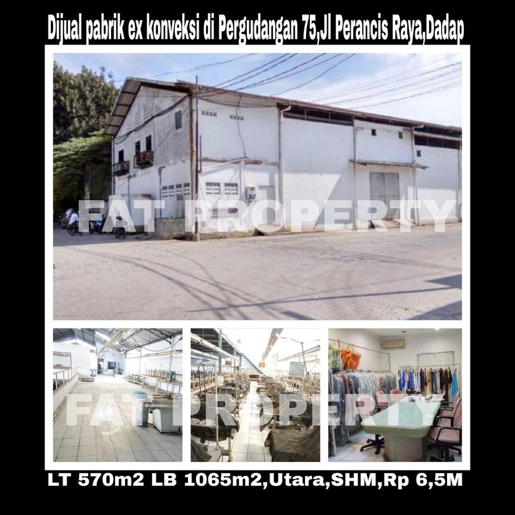 Dijual gedung pabrik Ex Garment di kawasan Pergudangan 75 ,Perancis Raya,Dadap,Tangerang.
