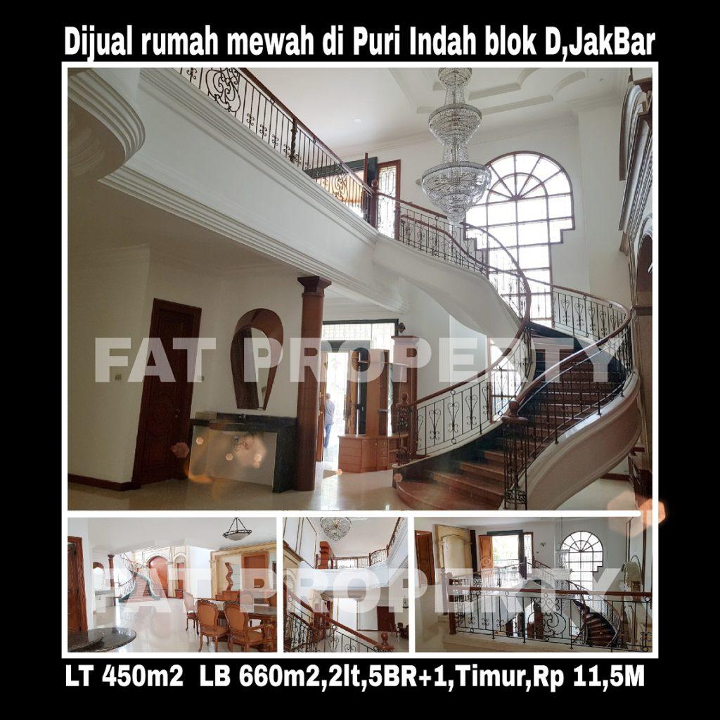 Dijual cepat rumah mewah di komplek perumahan elite di Puri Indah blok D,Jakarta Barat.
