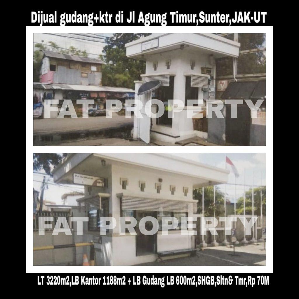 Dijual gudang dan kantor perusahaan rokok yg telah tbk di Jl Agung Timur,Sunter.