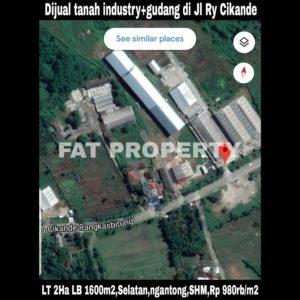 Dijual tanah industry plus gudang hny hitung tanah di Jl Raya Cikande-Rangkasbitung.