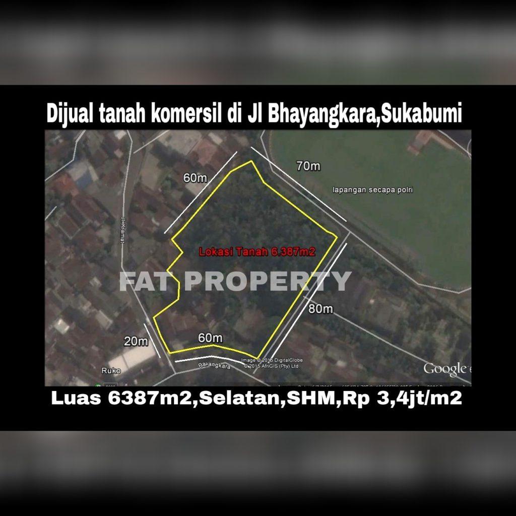 Dijual tanah komersil di Jl.Bhayangkara,Sukabumi.