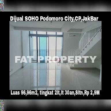 Dijual SOHO Podomoro City (Satu kompleks dgn Mal Central Park) Jl. Letjen S. Parman,Jakarta Barat.