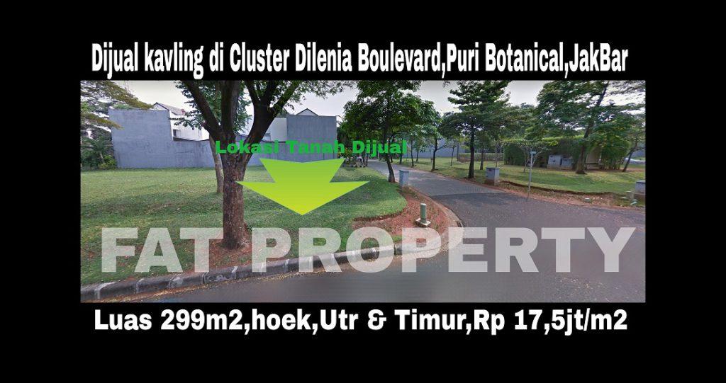 Dijual kavling bagus boulevard di Puri Botanical,Cluster Dilenia Boulevard Blok G4 no 1,Jakarta Barat.