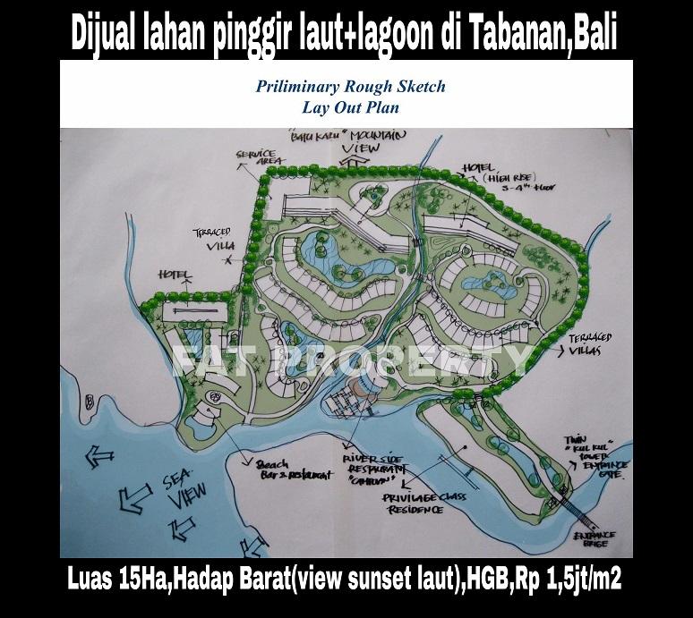Dijual tanah/lahan super keren hadap laut dan ada lagoon di dlmnya di Tabanan,Bali.