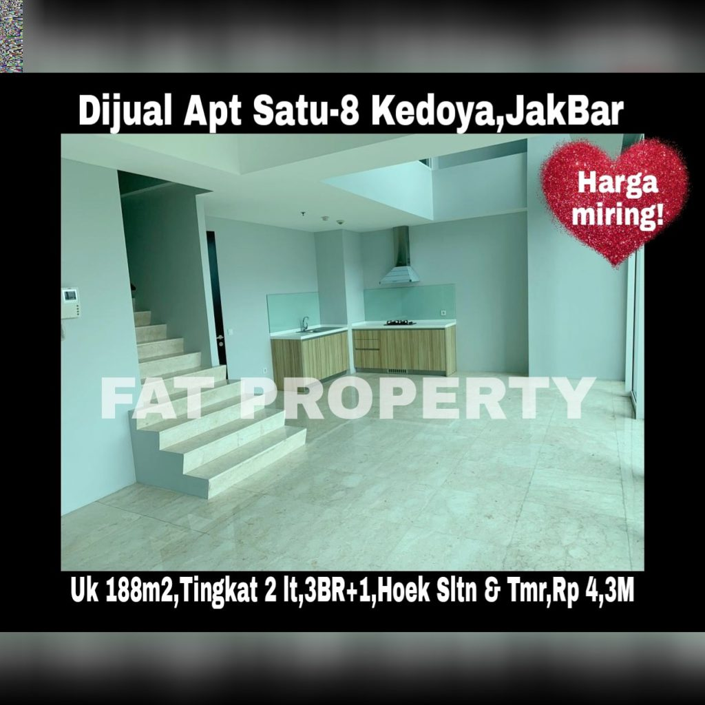 Dijual super cepat harga miring - Apartemen Satu-8 Kedoya,Jakarta Barat.
