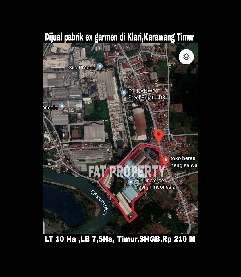 Dijual pabrik ex garmen brand ternama utk dieksport di Jl.Raya Curug Kosambi,Kec. Klari,Karawang Timur 41371, Jawa Barat.