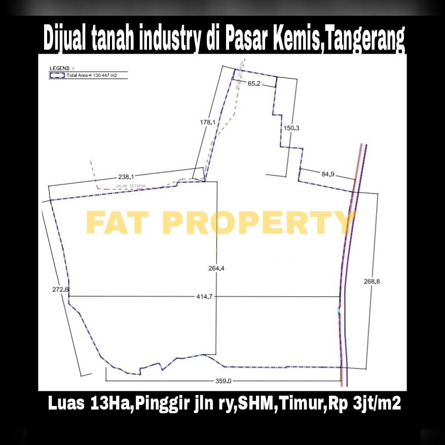 Dijual tanah industry bersertifikat di jalan raya Pasar Kemis,Cikupa,Tangerang.