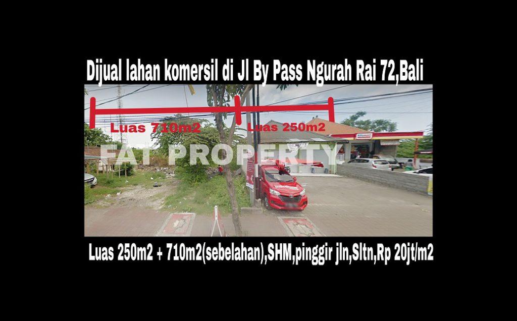 Dijual 2 lahan komersil bagus di pinggir jalan Jl By Pass Ngurah Rai no 72,Bali.