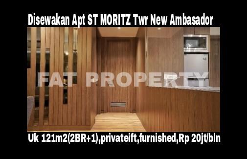 Disewakan Apartment ST MORITZ Tower New Ambasador, tower paling high end dan terbaru serta paling strategis di tengah2 mal. Ukuran 121 m2 di sedang.