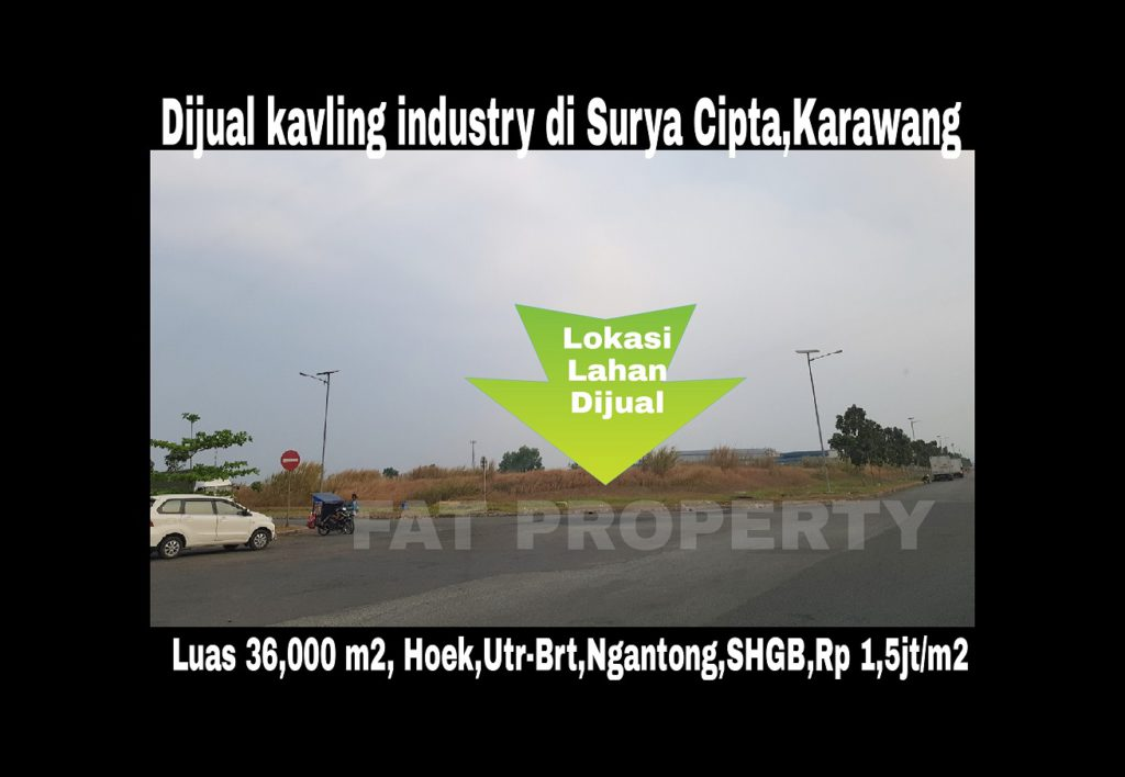 Dijual kavling industri di kawasan Surya Cipta,Karawang Timur.
