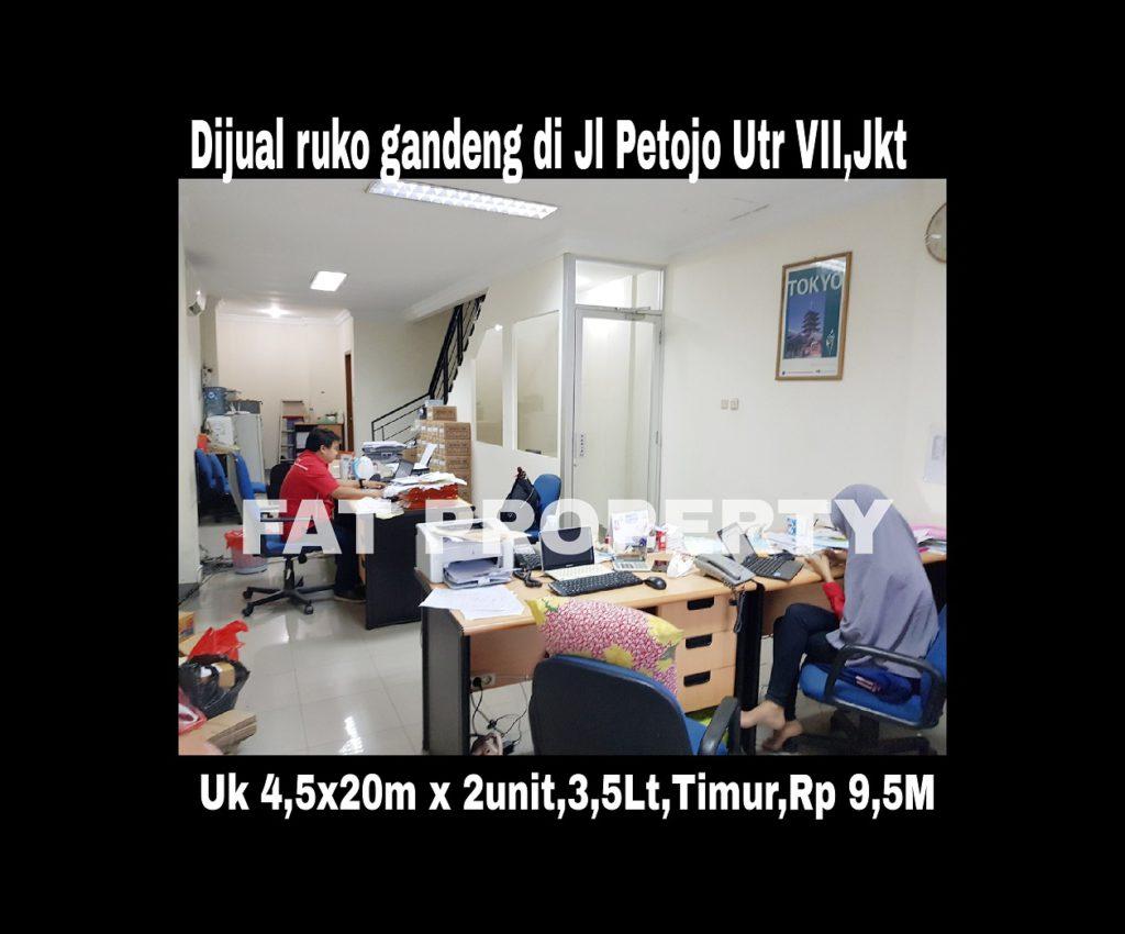 Dijual ruko gandeng yang blm dijebol di Jl Petojo Utara VII,Jakarta Pusat