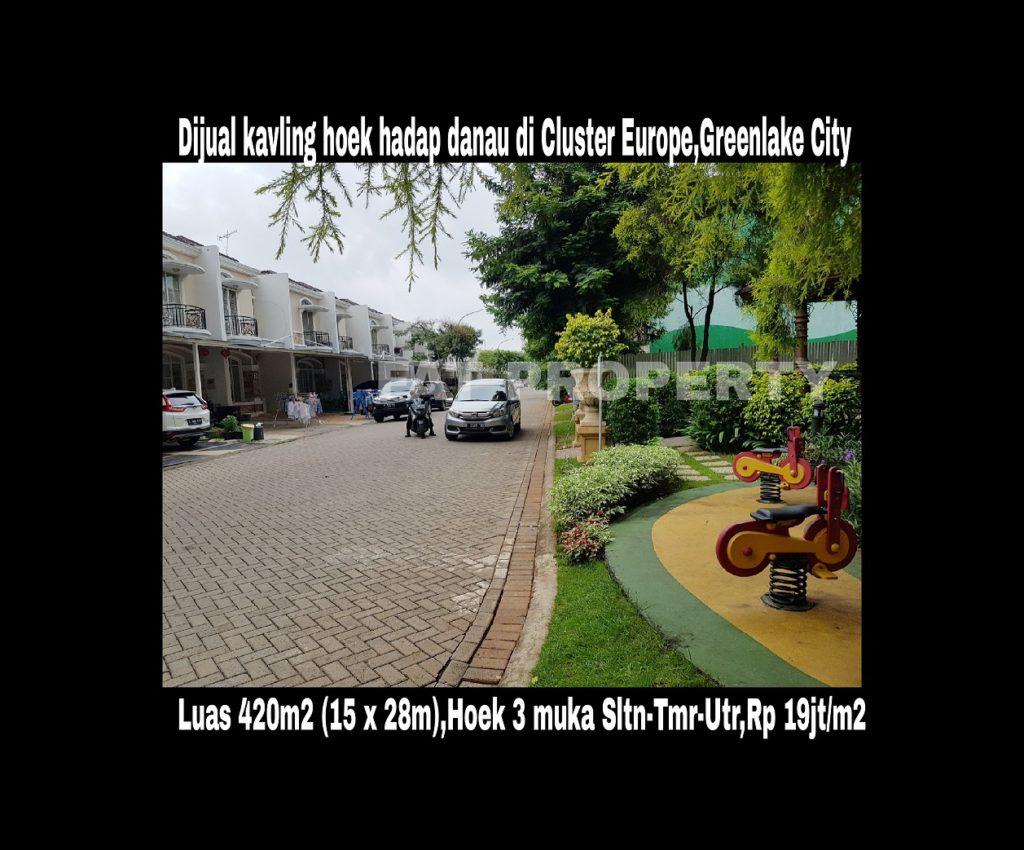 Dijual kavling bagus hadap danau, Greenlake City,Jakarta Barat