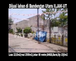 Dijual lahan di Bandengan Utara II No 46,Jakarta Utara.