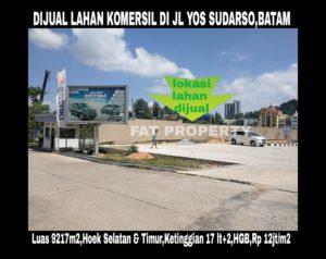 Dijual lahan komersil super strategis di pertigaan pusat Kota Batam.