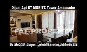Dijual Apartment ST MORITZ Tower Ambasador luas 145m2 di lt 10.