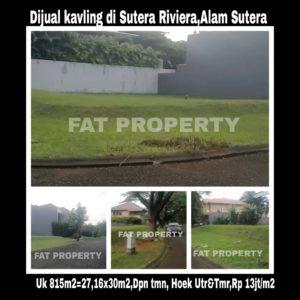 Dijual kavling perumahan elite di Sutera Riviera 1 no 1,Alam Sutera.