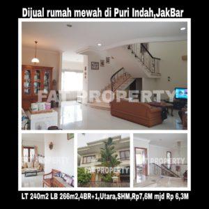 Dijual cepat rumah bagus di komplek perumahan elite di Puri Indah blok E,Jakarta Barat