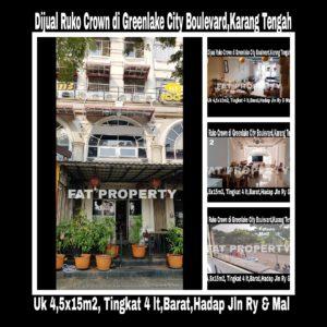 Dijual ruko hadap jalan raya di Green Lake City,Karang Tengah (Perbatasan Jakarta Barat dan Serpong).