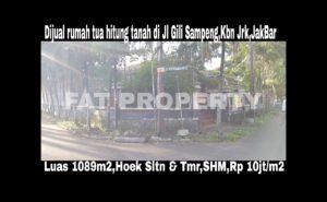 Jual cepat BU rumah tua hitung tanah di Jl Gili Sampeng 2,Kebon Jeruk Jakarta Barat