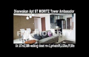 Disewakan Apartment ST MORITZ Tower Ambasador luas 157m2 di lt 20an.