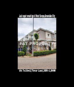 Dijual cepat rumah bagus hadap taman di West Europe, Greenlake City,Karang Tengah,Cipondoh,Perbatasan Jakarta Barat dan Tangerang.