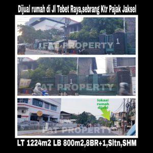 Dijual rumah di atas tanah komersil di jalan raya strategis di Jl Tebet Raya no 1 Jakarta Selatan.