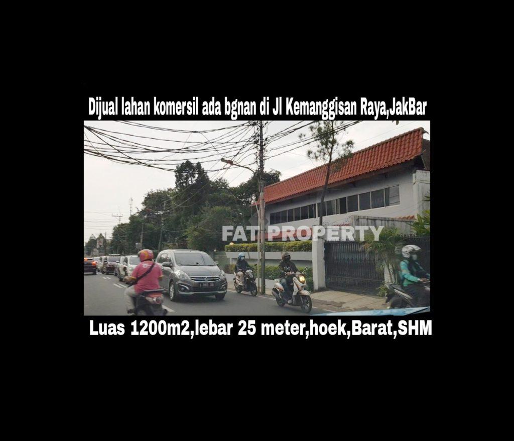 Dijual lahan komersil ada bangunan rumah tua di Jl Kemanggisan Raya,Jakarta Barat.