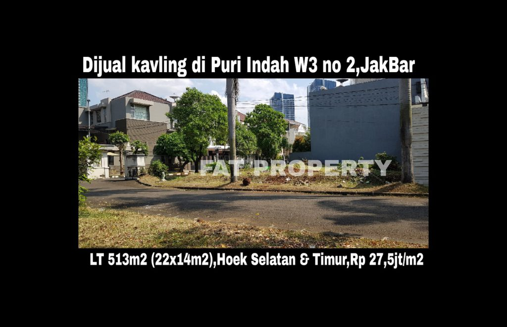 Dijual kavling perumahan di perumahan elite Puri Indah Blok W3 no 2,Jakarta Barat