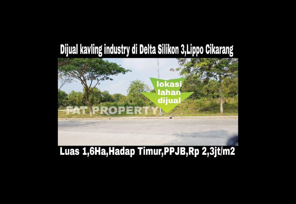 Dijual kavling industry di Delta Silikon 3,Lippo Cikarang.