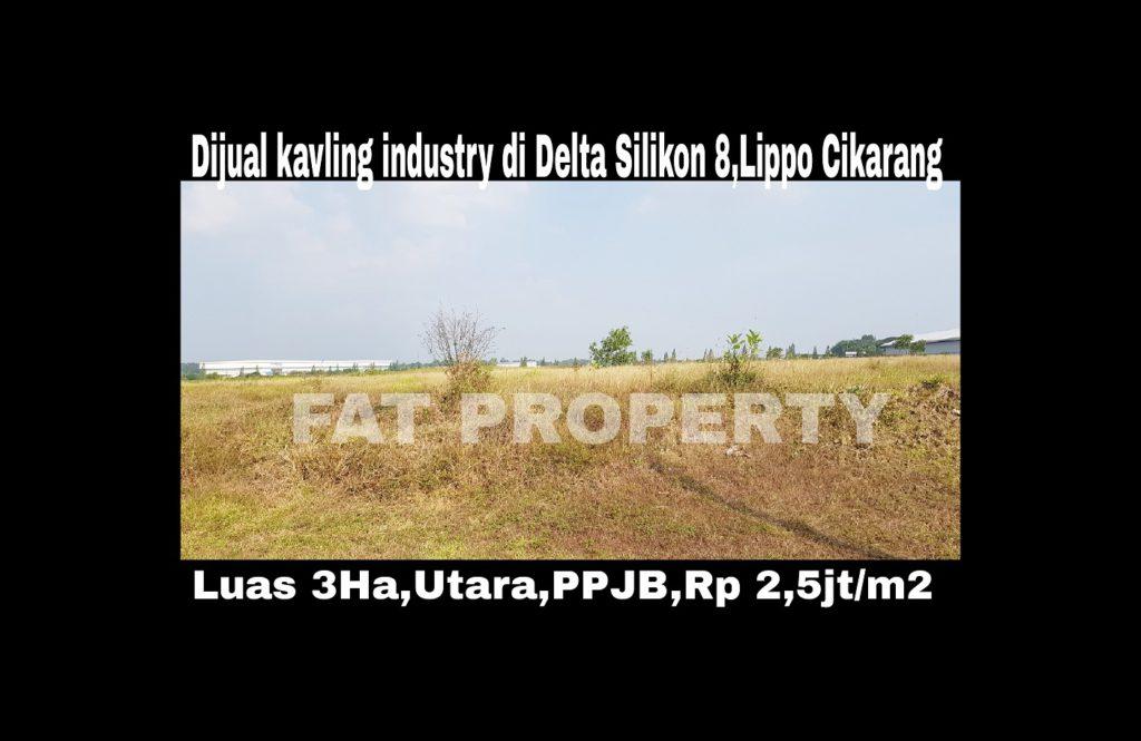 Dijual kavling industry di Delta Silikon 8,Lippo Cikarang.