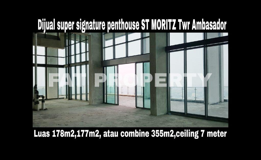 Dijual super signature penthouse di lantai tertinggi Apt ST MORITZ Tower Ambasador: