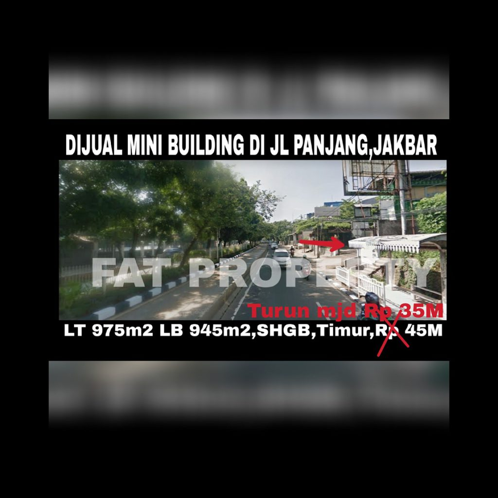 Dijual gedung kantor di atas tanah komersil yang sangat ramai di Jl Panjang,Kedoya Utara,Jakarta Barat.