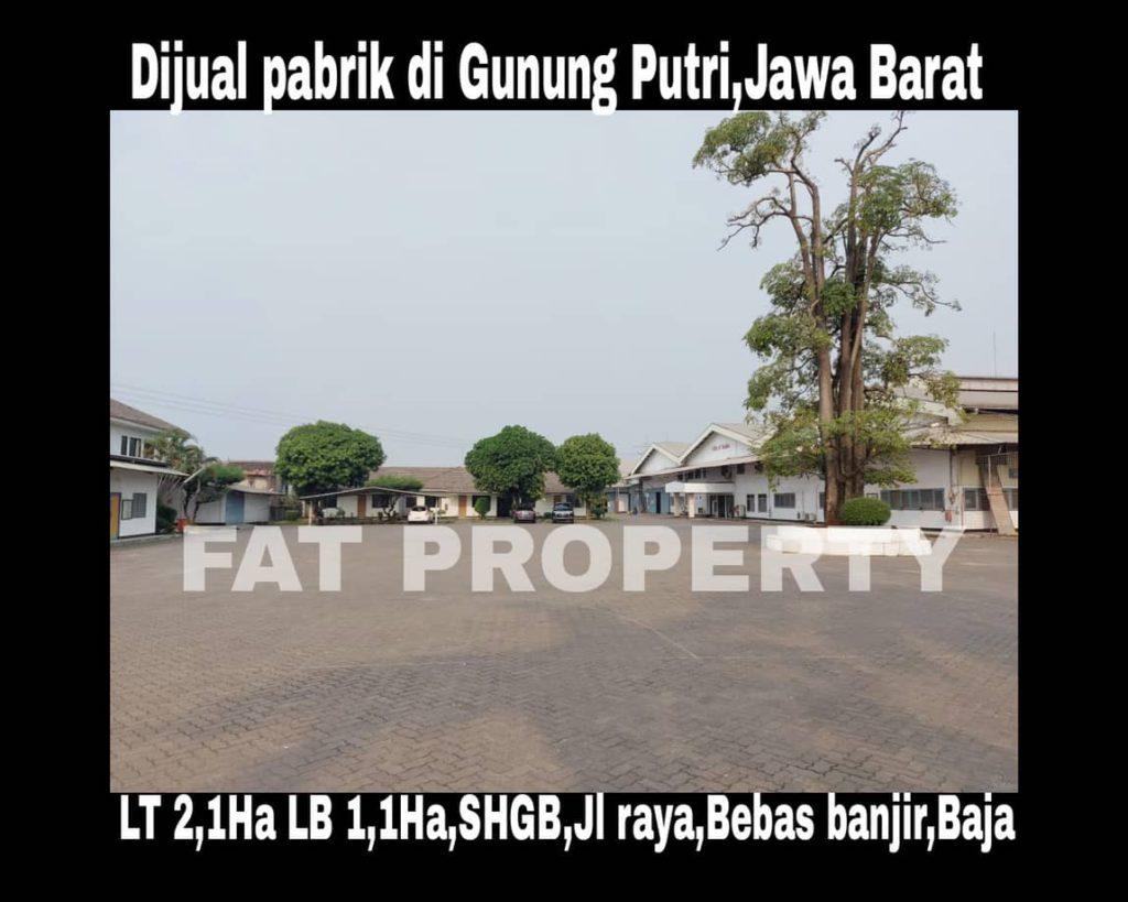 Dijual pabrik ex produksi boneka eksport di Jl.Tlanjung Udik, Gunung Putri,Jawa Barat.
