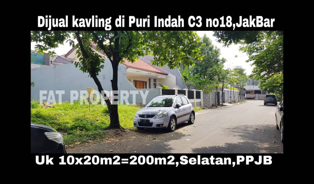 Dijual kavling perumahan di perumahan elite Puri Indah Blok C3 no 18,Jakarta Barat.