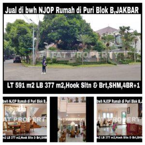 Dijual rumah hoek di Jl Kembang Asri Utama Puri Indah blok B,Jakarta Barat.
